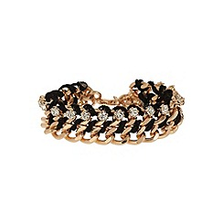 Mikey London - Black crystal chain in metal bracelet