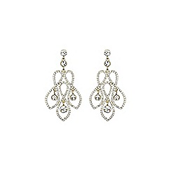 Mikey London - Gold and white twisted wire design crystal earring