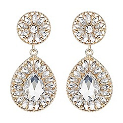 Mikey London - Gold dual crystal stone oval drop earring