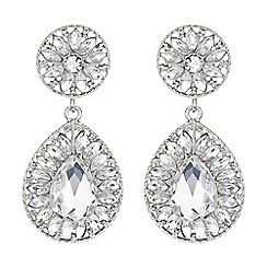 Mikey London - White dual crystal stone oval drop earring