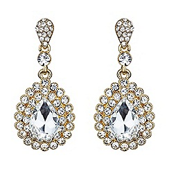 Mikey London - Gold oval crystal surround drop earring