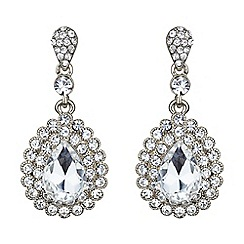 Mikey London - White oval crystal surround drop earring