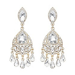 Mikey London - Gold dual crystal drop earring