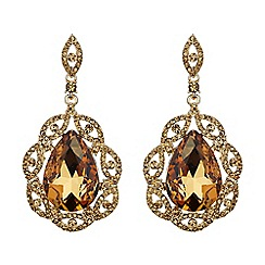 Mikey London - Brown oval crystal filigree surround earring