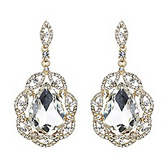 Mikey London - Gold and white oval crystal filigree surround earring