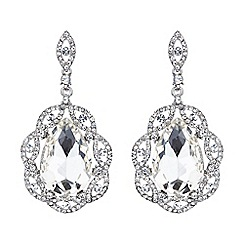 Mikey London - White oval crystal filigree surround earring