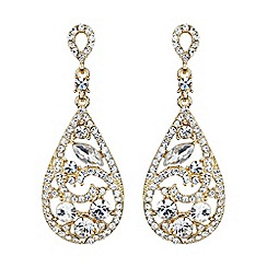 Mikey London - Gold filigree eclpise crystal drop earrimg