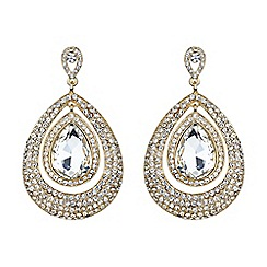 Mikey London - Gold eclipse crystal twin surround earring