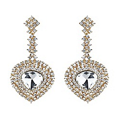 Mikey London - Gold oval crystal long drop surround earring