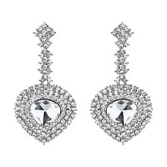 Mikey London - White oval crystal long drop surround earring