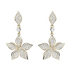 Mikey London - Gold leaf design crystal drop earring