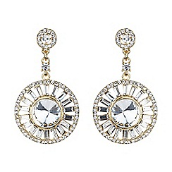 Mikey London - Gold baugette circle centre crystal earring