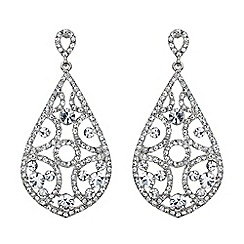 Mikey London - White filigree crystals oval design earring