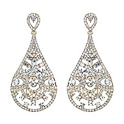 Mikey London - Gold filgree spread crystal oval drop earring