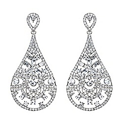 Mikey London - White filgree spread crystal oval drop earring