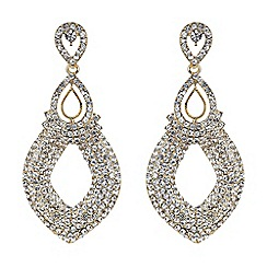 Mikey London - Gold twin oval loop crystal drop earring