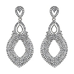 Mikey London - White twin oval loop crystal drop earring