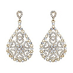 Mikey London - Gold oval design filigree spread drop earring