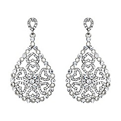 Mikey London - White oval design filigree spread drop earring