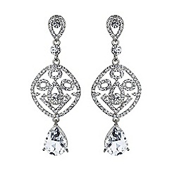 Mikey London - White filgree crystal diamond drop earring