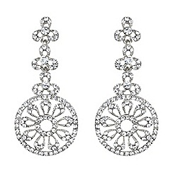 Mikey London - White filigree circle crystal drop earring