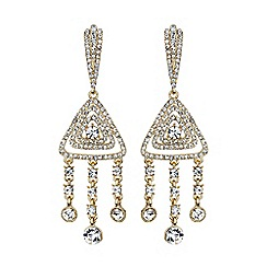 Mikey London - Gold diamond filigree crystal drop earring