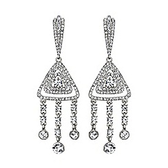 Mikey London - White diamond filigree crystal drop earring