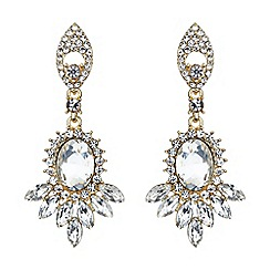 Mikey London - Gold twin drop oval spike crystal earring