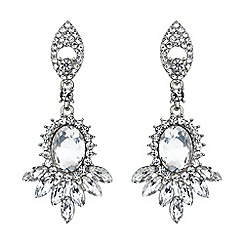 Mikey London - White twin drop oval spike crystal earring