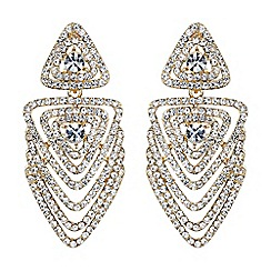 Mikey London - Gold multi layer crystal traingle earring