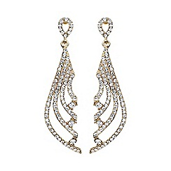 Mikey London - Gold crystal stripe knife design drop earring