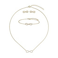 Mikey London - Gold cubic bow necklace barcelet stud set