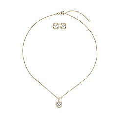 Mikey London - Gold cubic square necklace stud set