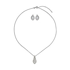 Mikey London - White cubic eclipse marquise necklace stud set