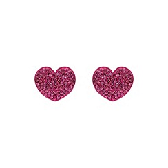 Mikey London - Fuchsia flat heart earring