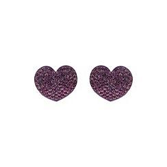Mikey London - Purple flat heart earring