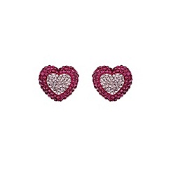 Mikey London - Fuchsia two tone heart earring