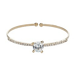 Mikey London - Gold centre crystal top cuff bracelet