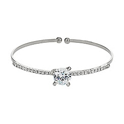 Mikey London - White centre crystal top cuff bracelet