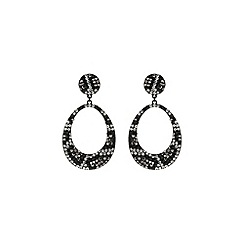 Mikey London - Black oval design earring leopard