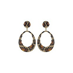 Mikey London - Brown oval design earring leopard