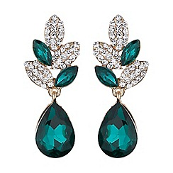 Mikey London - Leaf design drop crystal earring