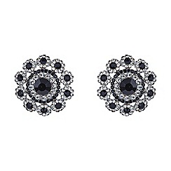 Mikey London - Black filigree round raised stud earring