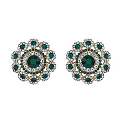 Mikey London - Green filigree round raised stud earring
