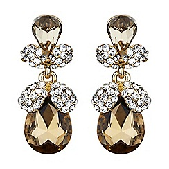 Mikey London - Brown twin oval fruit crystal drop earring