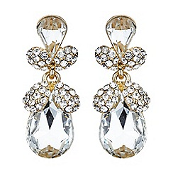 Mikey London - Gold and white twin oval fruit crystal drop earring