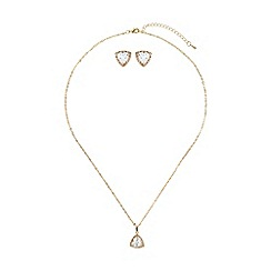 Mikey London - Gold heart cubic pendant earring set