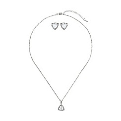 Mikey London - White heart cubic pendant earring set