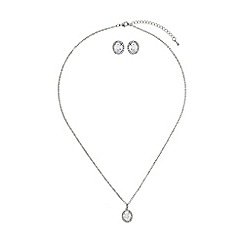 Mikey London - White oval cubic pendant earring set