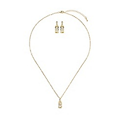 Mikey London - Gold curved net cubic pendant earring set